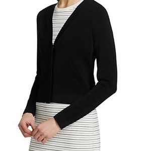 Theory V Neck Cropped Ribbed Button Cardigan